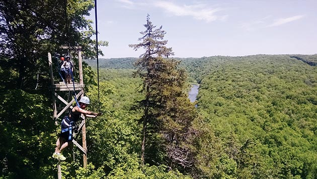 zip line at Eagle Bluff Environmental Learning Center