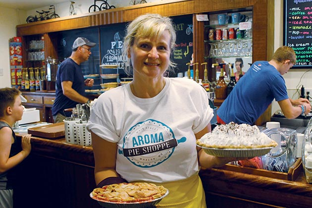 Aroma Pie Shoppe in Whalan (population 63) offers a rotating selection of fresh-baked slices, plus sandwiches. Photo by Sam Patet