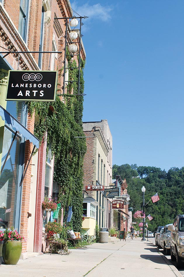 Lanesboro's quaint downtown features an array of shops and galleries. Photo by Adam Wiltgen