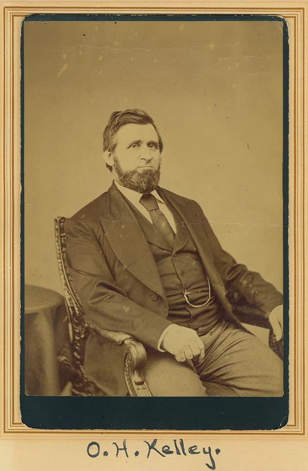 Oliver H. Kelley helped create the country's first nationwide farm organization known as The Grange in 1867.