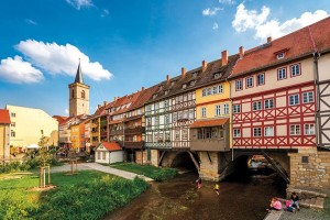 Merchants Bridge— built over the river in Erfurt, Germany in 1325 — is lined with picturesque homes and shops.
