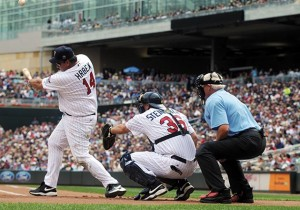 Former Minnesota Twins player Kent Hrbek, left, hits during the Legends game at Target Field on Sunday, September 5, 2010. Catcher is former Twins Terry Steinbach, umpire is WCCO's Don Shelby. (Pioneer Press: Ginger Pinson)