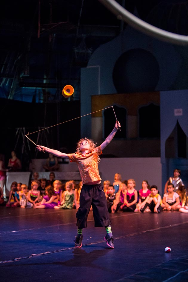 Students as young as 3 can take classes at Circus Juventas in St. Paul, which offers performances in the spring and summer. This student is jugglingwith a circuspropcalled a diabolo. Photo by Dan Norman