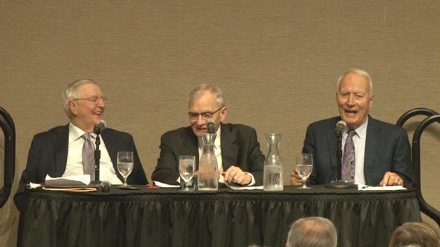 Walter Mondale, Gary Eichten, Dave Durenberger (left to right) speak at the Selim Center for Lifelong Learning at the University of St. Thomas in St. Paul.