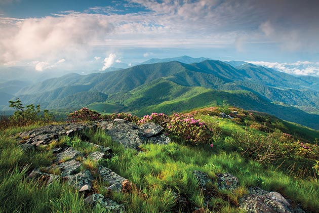 The Blue Ridge Mountains are visible from the Grassy Ridge spur trail off the Appalachian Trail near the North Carolina-Tennessee border.
