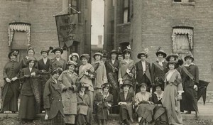 Organized groups, such as the University of Minnesota's women's suffrage club, were a force behind the movement for suffrage equity in 1913. Photo courtesy of the Minnesota Historical Society.