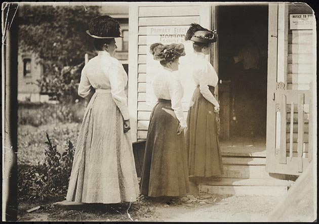 Three women wait in line to vote in a primary election – possibly a school board election – after an amendment that gave women the right to vote in school board elections was passed in 1898. Photo courtesy of The Minnesota Historical Society.