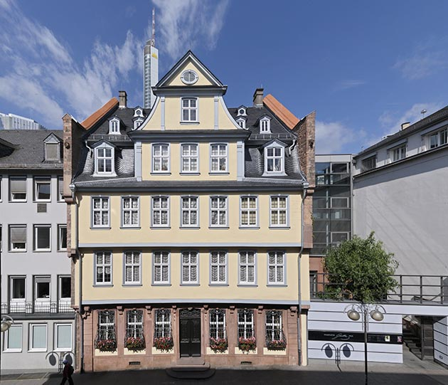 TheGoethe House in Frankfurt, once home to the famed poet and statesman Johann Wolfgang von Goethe, was destroyed during World War II, but was later restored and turned into a museum. Photo by Holger-Ullmann / frankfurt-tourismus.de