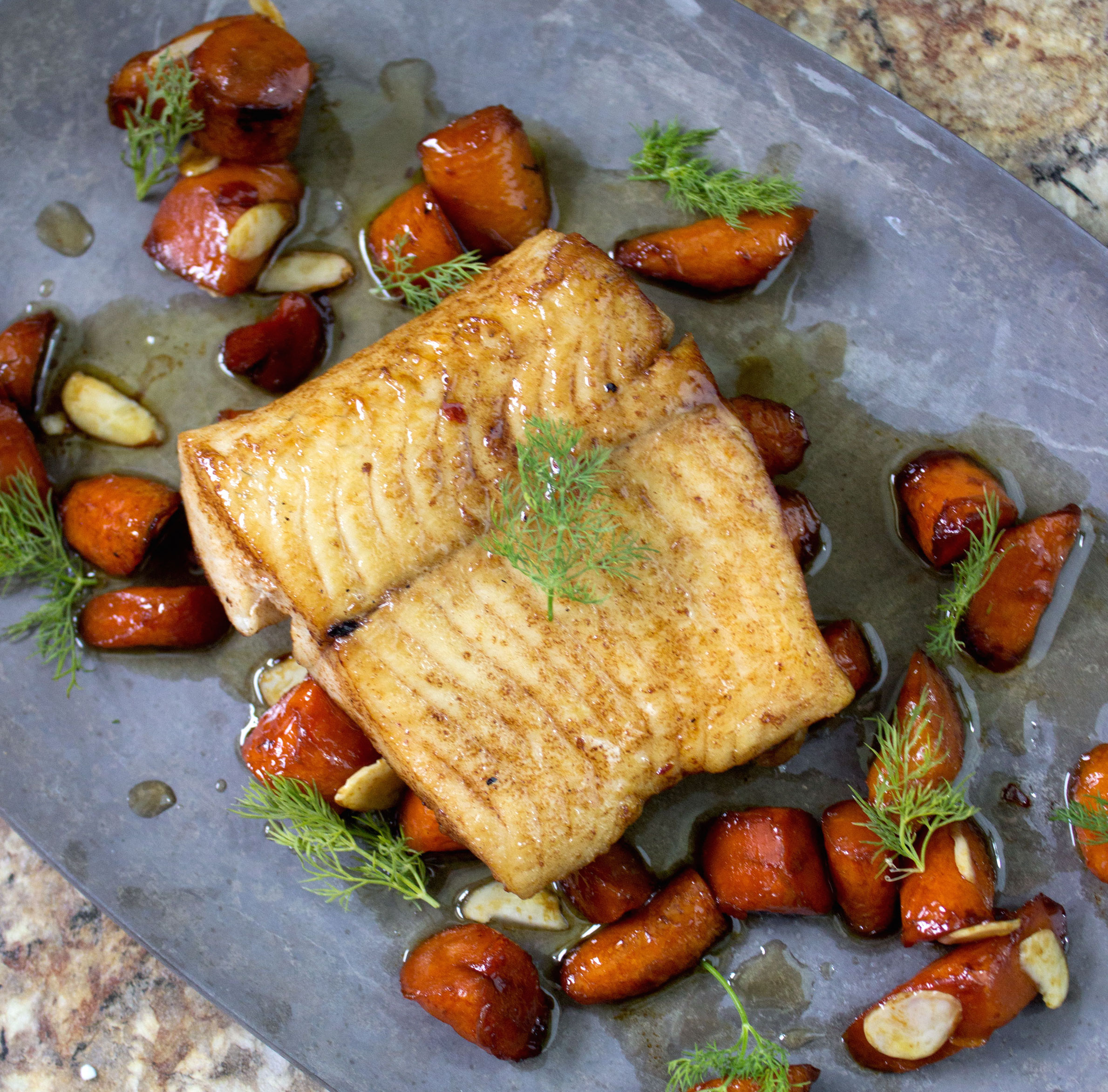 Pan Roasted Northern With Carrots And Honey Vinegar Glaze