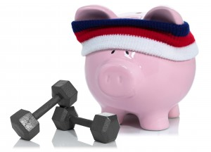 Piggy bank with workout gear