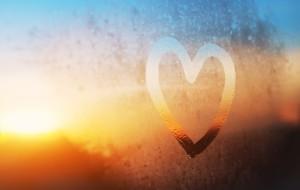 airplane window with heart